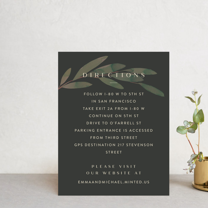 """""""Modern Leaves"""" - Direction Cards in Smoked by Four Wet Feet Studio."""