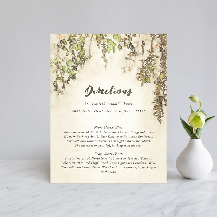 """""""English Countryside"""" - Simple, Rustic Direction Cards in Moss by Design Lotus."""
