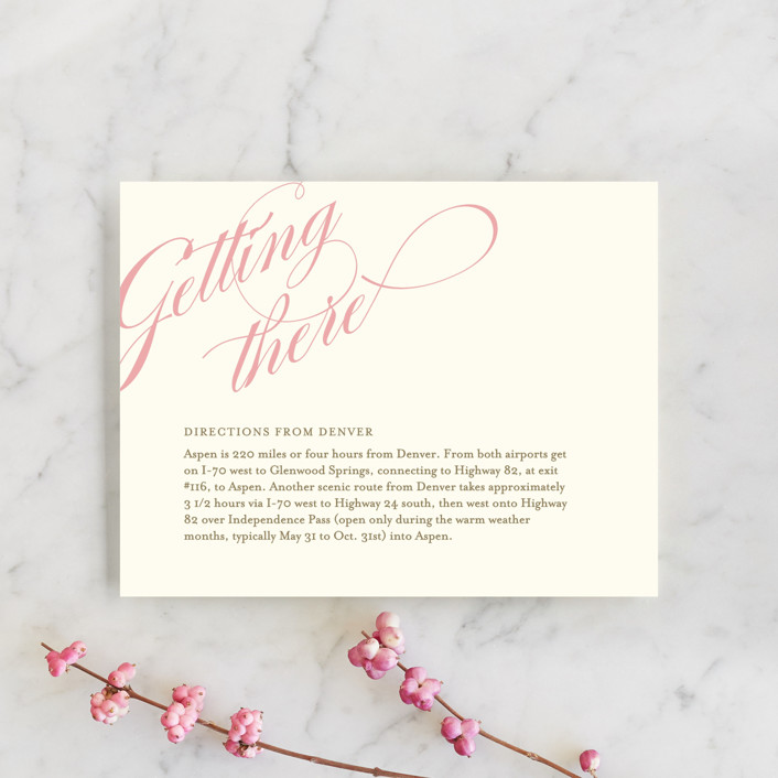 """Winter Flourish"" - Classical, Elegant Direction Cards in Petal Pink by annie clark."