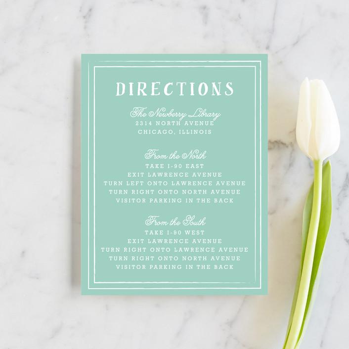 """Floral Chalkboard"" - Rustic Direction Cards in Aqua by Lehan Veenker."