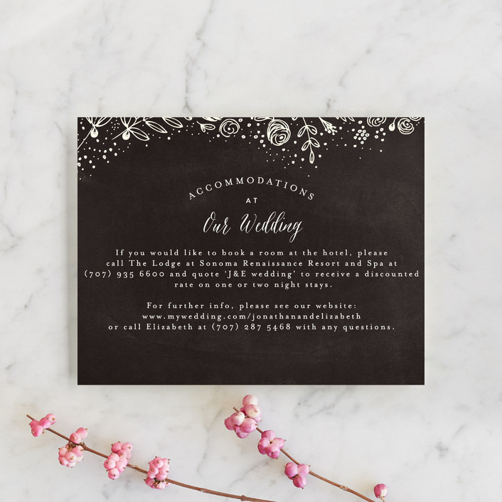 """The Wedding Bouquet"" - Floral & Botanical Direction Cards in Chalkboard by Phrosne Ras."