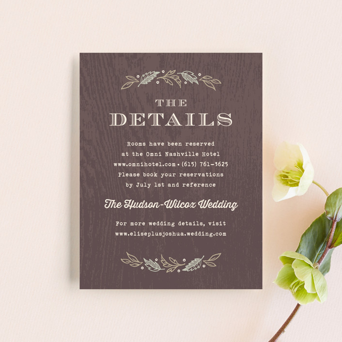 """Woodland Romance"" - Rustic, Floral & Botanical Direction Cards in Walnut by Hooray Creative."