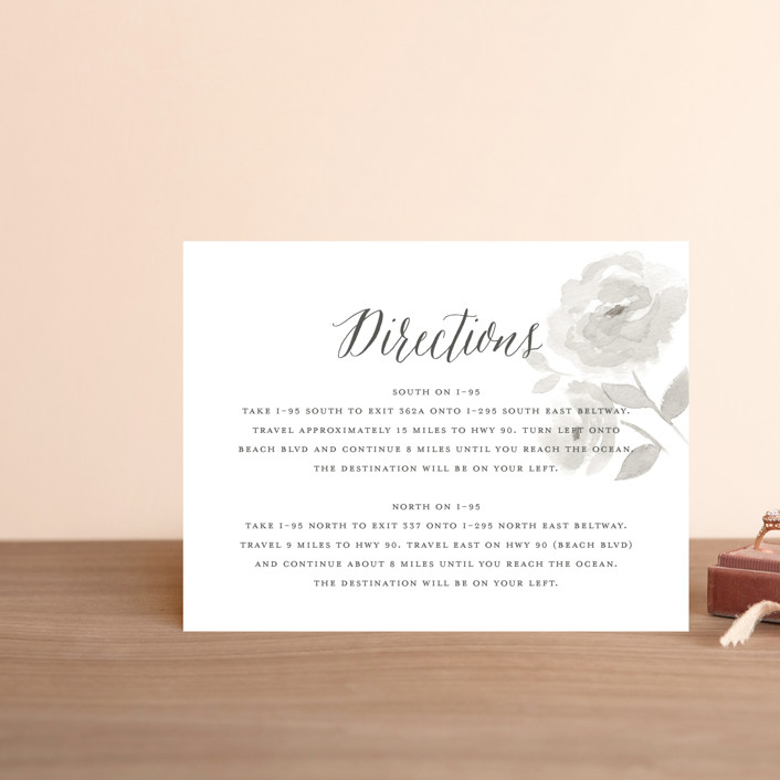 """Watercolor Floral"" - Direction Cards in Fog by Jill Means."