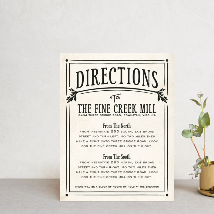 """Inked"" - Hand Drawn, Bold typographic Direction Cards in Parchment by GeekInk Design."