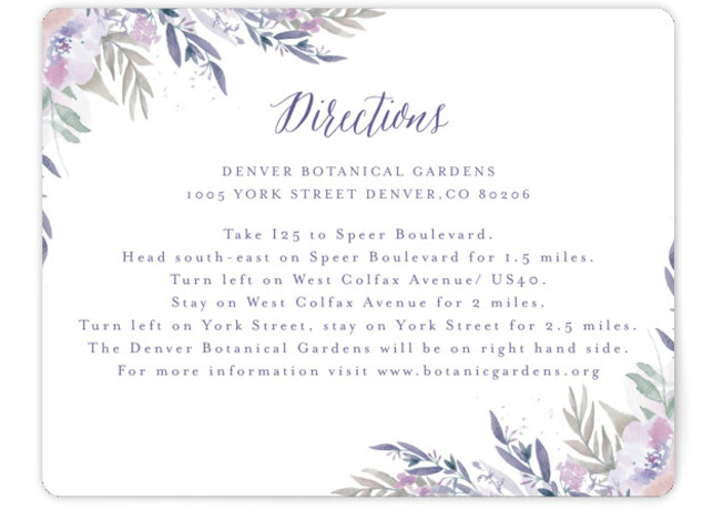 This is a landscape botanical, painterly, purple, pink, green Direction Cards by Grace Kreinbrink called Big Blooms with Standard printing on Signature in Card Flat Card format. Giant, vivid hand painted watercolor blooms frame this wedding invitation.