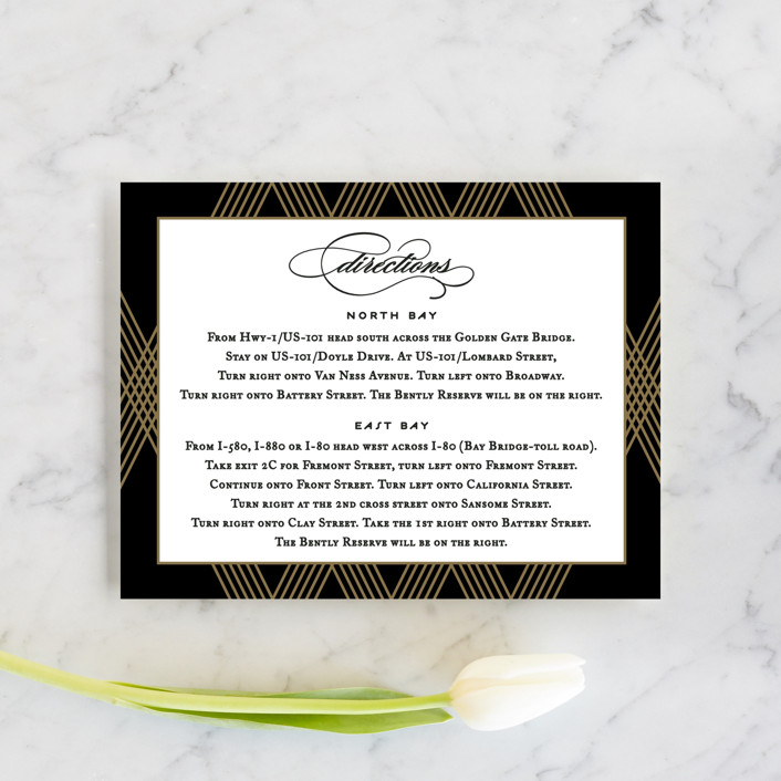 """Grandiose"" - Formal, Classical Direction Cards in Onyx by Jennifer Postorino."