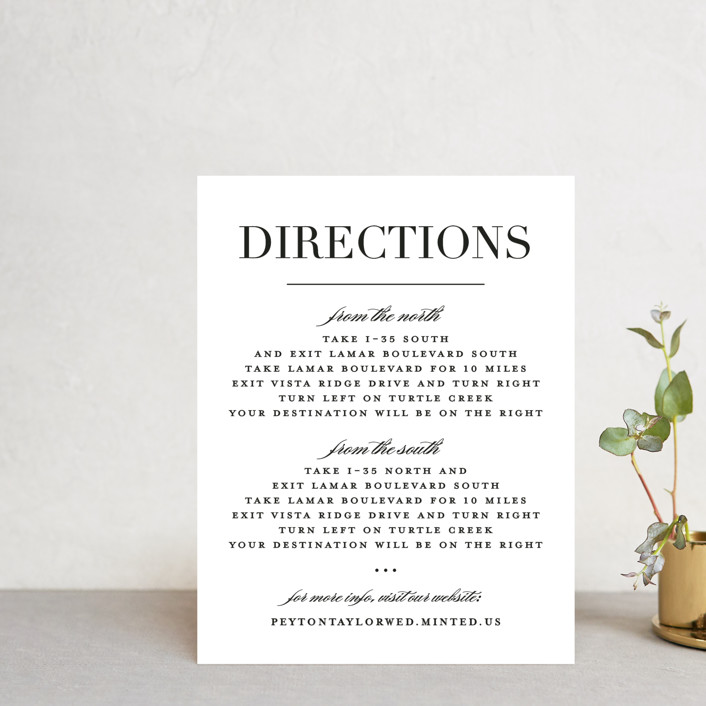 """Classic"" - Direction Cards in Tuxedo by Lauren Chism."
