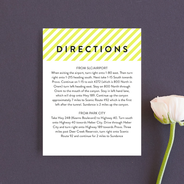 """Modern Fun"" - Direction Cards in Lemon Drop by Jill Means."
