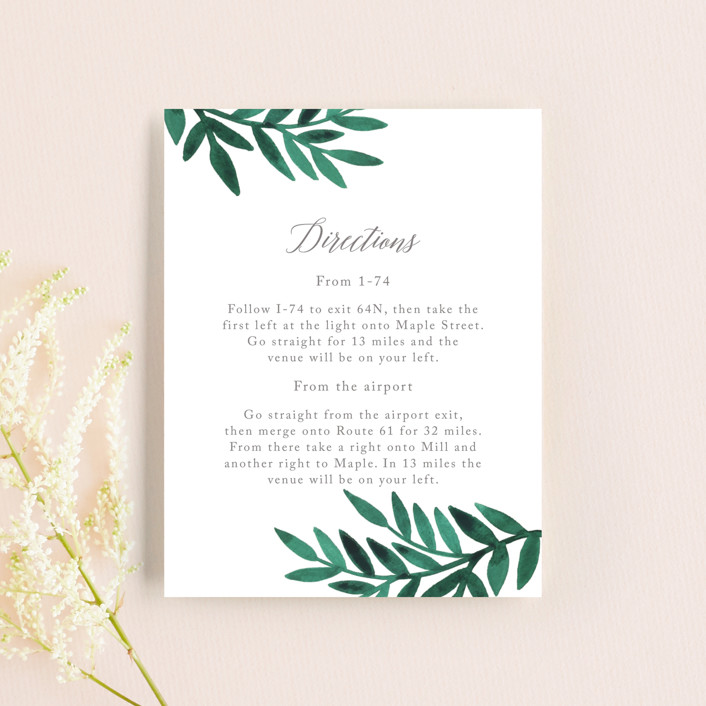 """""""Painted Greenery"""" - Direction Cards in Evergreen by Katharine Watson."""
