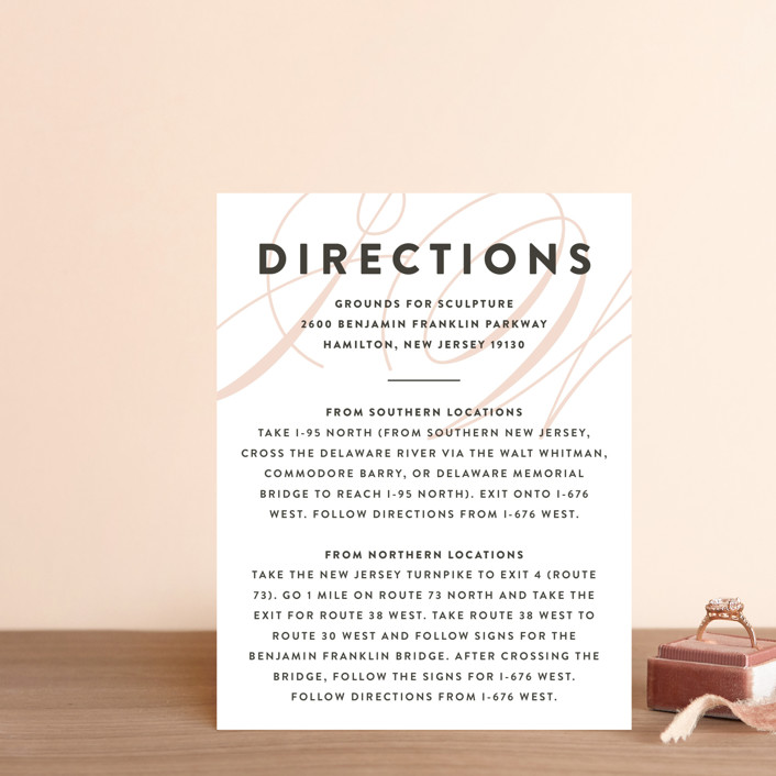 """Twirl Monogram A"" - Direction Cards in Blush by Ariel Rutland."