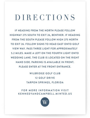 Wedding Stamp Directions Cards