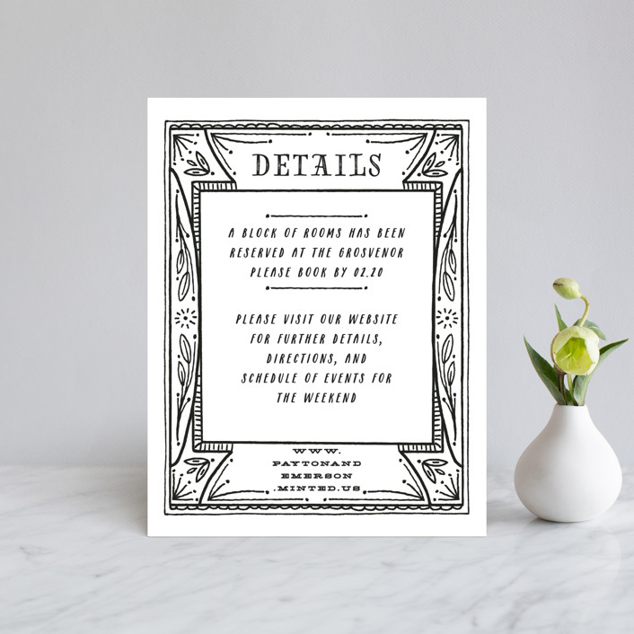 """Ink Detailing Frame"" - Direction Cards in Ink by Shiny Penny Studio."