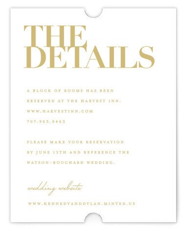 This is a beige Direction Cards by Kelly Schmidt called The Minimalist with Standard printing on Signature in Card Flat Card format. A clean and classic black and white design featuring bold typography for the couple's names