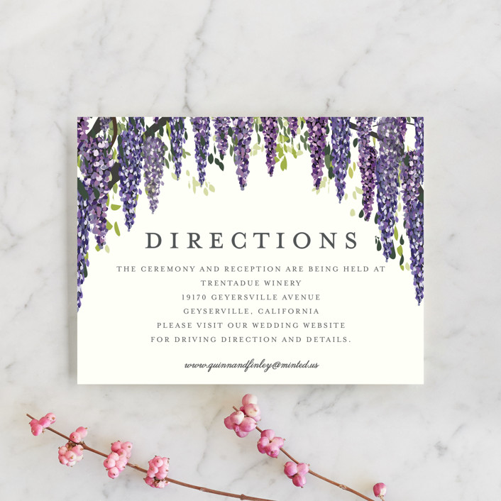 """""""Wisteria Blooms"""" - Direction Cards in Grape by Susan Moyal."""
