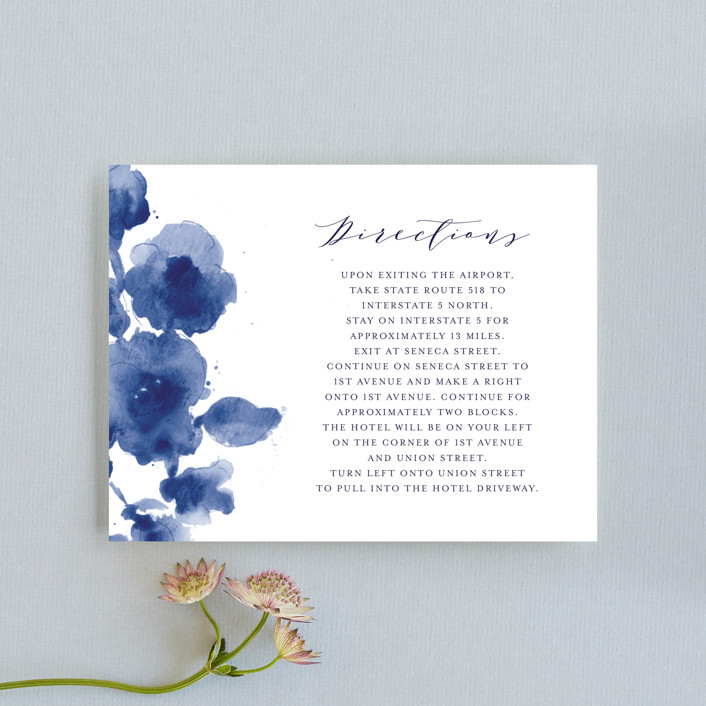 """Cornflower Wedding"" - Direction Cards in Periwinkle by Chris Griffith."