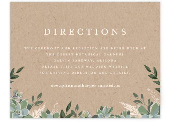 This is a brown Direction Cards by Susan Moyal called Succulent Surround with Standard printing on Signature in Card Flat Card format. This wedding invitation features an array of succulents and greenery