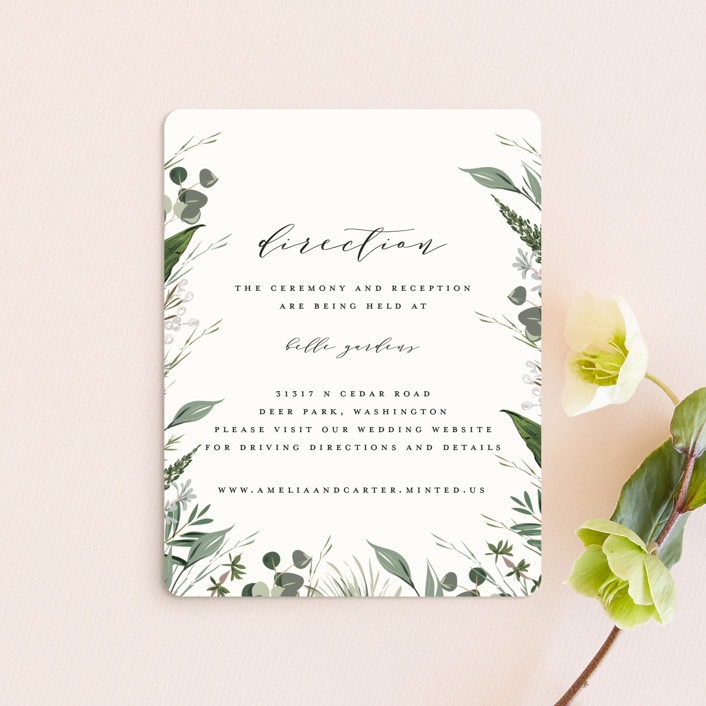 """""""Natures Greens"""" - Direction Cards in Ivory by Susan Moyal."""