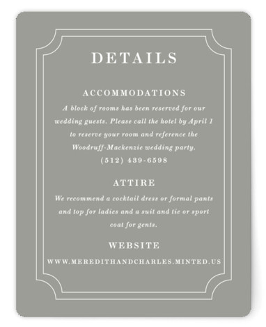 This is a classic and formal, monogram, simple and minimalist, grey Direction Cards by Kimberly FitzSimons called Framed Details with Standard printing on Signature in Card Flat Card format. A simple and lovely wedding invitation design with a traditional border ...