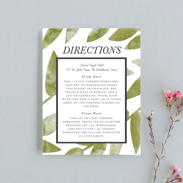 """""""Watercolor Leaf"""" - Monogram Direction Cards in Porcelain by Johanna McShan."""