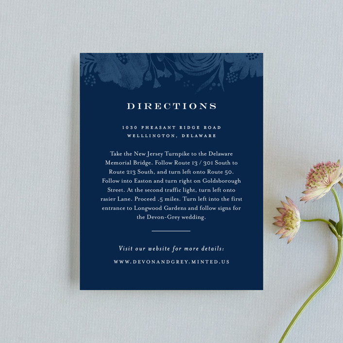 """""""Floral screenprint"""" - Rustic Direction Cards in Navy by Jennifer Wick."""