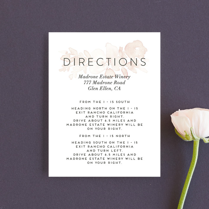 """""""Ethereal Bouquet"""" - Direction Cards in Blush by Petra Kern."""