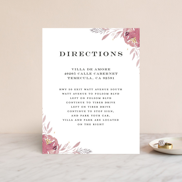 """""""Grand Bloom"""" - Direction Cards in Mauve by Bonjour Paper."""