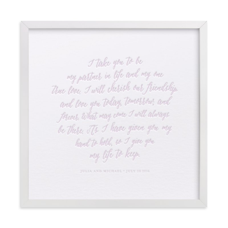 This is a purple art by Minted called Your Vows as a Letterpress Art Print.