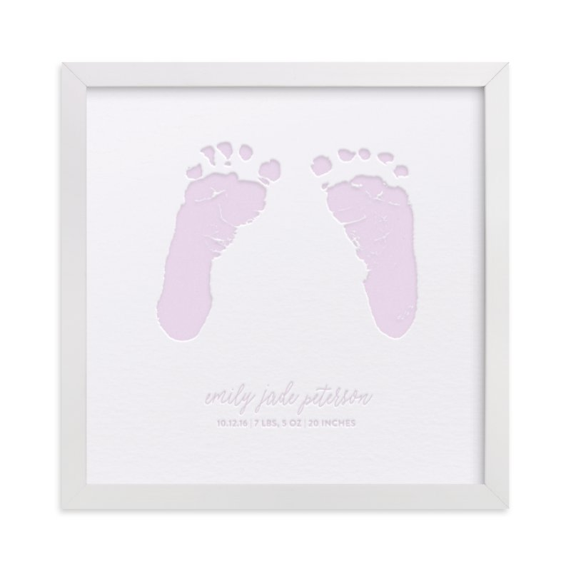 This is a purple art by Minted Custom called Custom Footprints Letterpress Art.