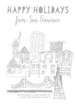 Happy Holidays From The City Completely Custom Your Drawing As Letterpress Card By annie clark