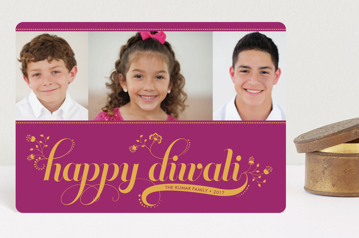 """Floral Diwali"" - Diwali Petite Cards in Fuschia by Coco and Ellie Design."