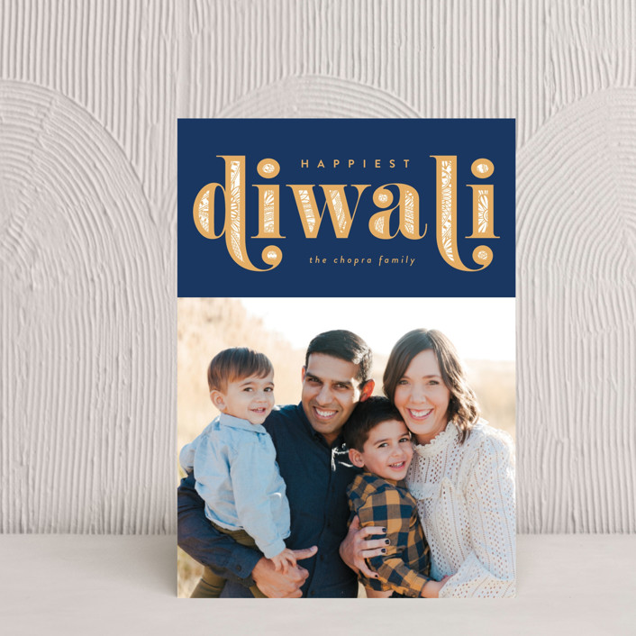 """Diwali Inlay"" - Diwali Petite Cards in Navy by Robert and Stella."