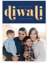 This is a blue diwali card by Robert and Stella called Diwali Inlay printing on smooth signature in petite.