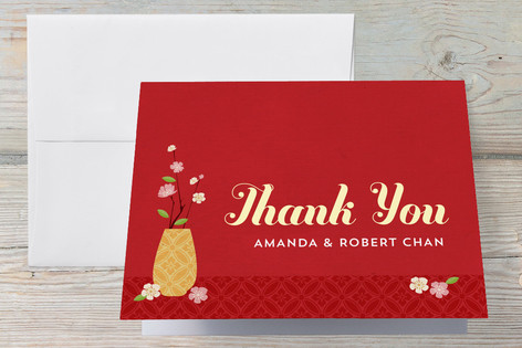 Red Egg & Ginger Party Chinese One Month Baby Thank You card
