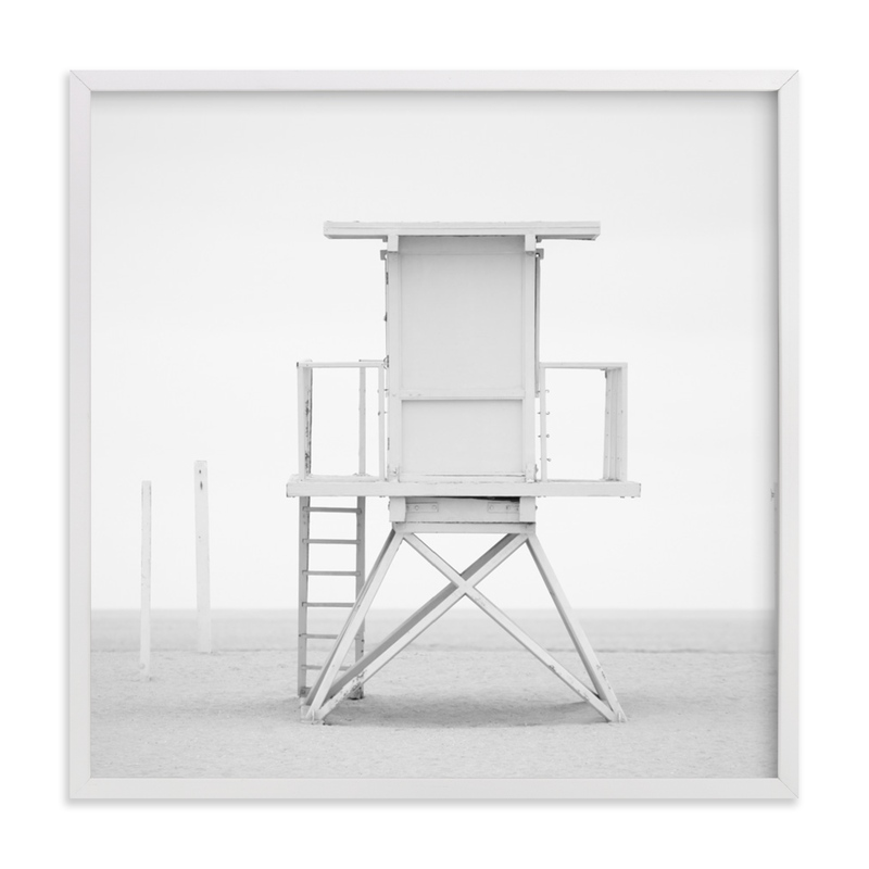 This is a white art by Kate Houlihan Photography called Iconic Lifeguard tower with standard.