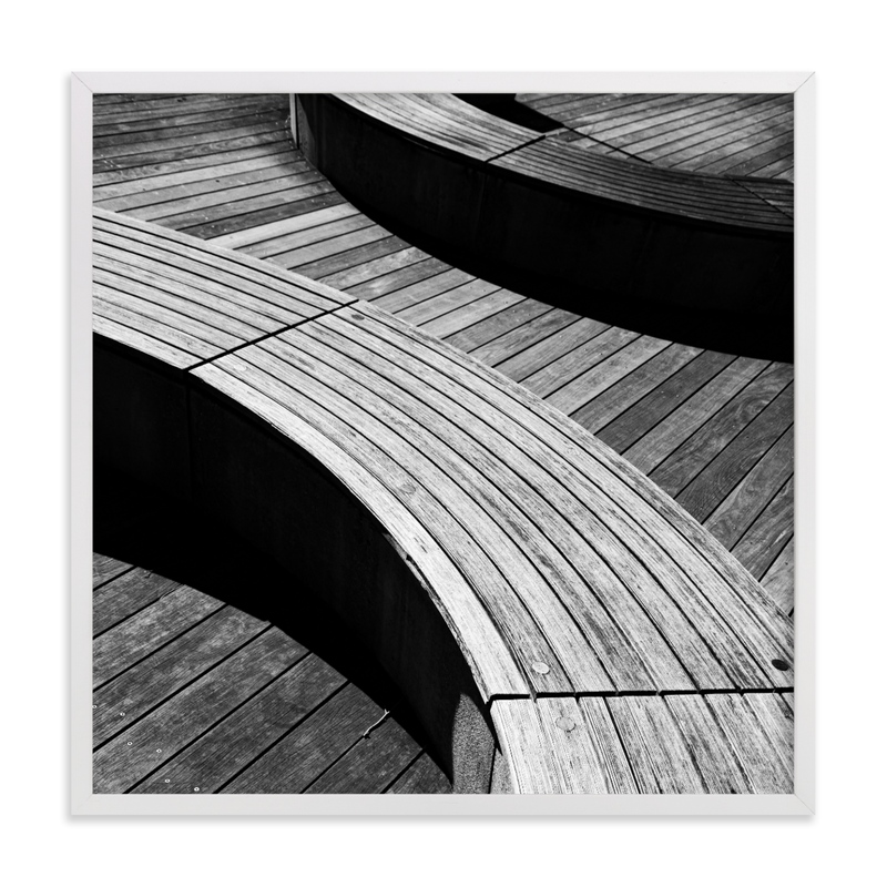 This is a black and white art by van tsao called Curve Bench Geometric III.