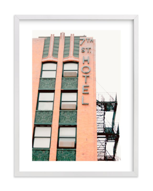 """""""7th Street Hotel"""" - Limited Edition Art Print by Baumbirdy in beautiful frame options and a variety of sizes."""