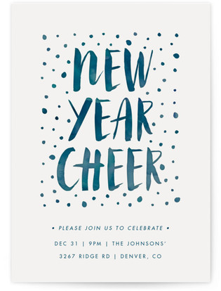watercolor cheer new years eve online invitations