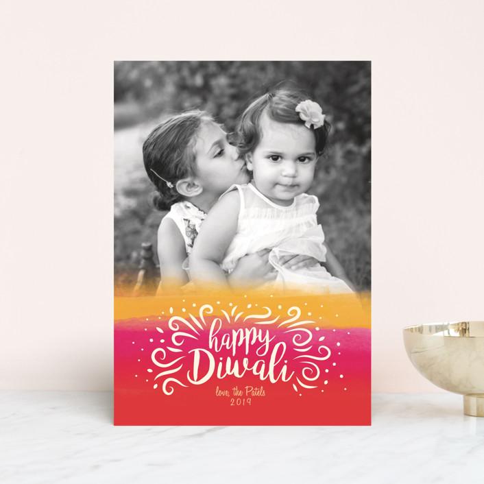 """Happy Diwali Blend"" - Bohemian Diwali Postcards in Amaranth by Christie Kelly."