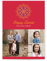 This is a red diwali card by Sandra Picco Design called Festive Rangoli printing on signature in postcard.