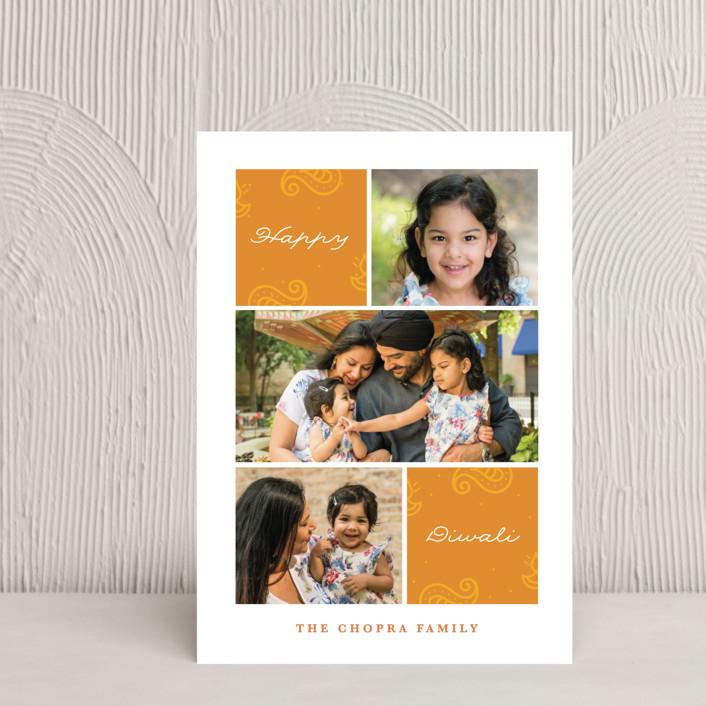"""""""rangoli squares"""" - Diwali Postcards in Pumpkin by Sweta Modi."""