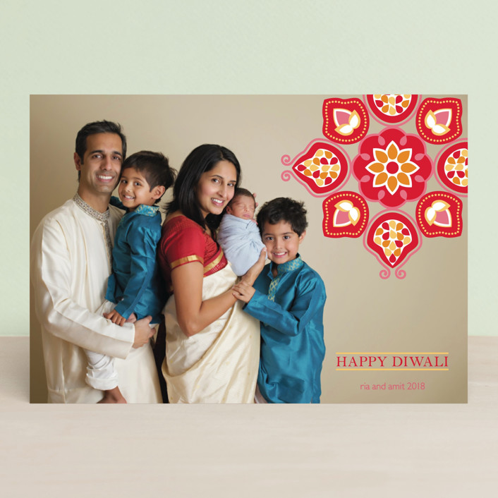 """Vermilion Lotus"" - Diwali Postcards in Cherry by Kimberly Morgan."