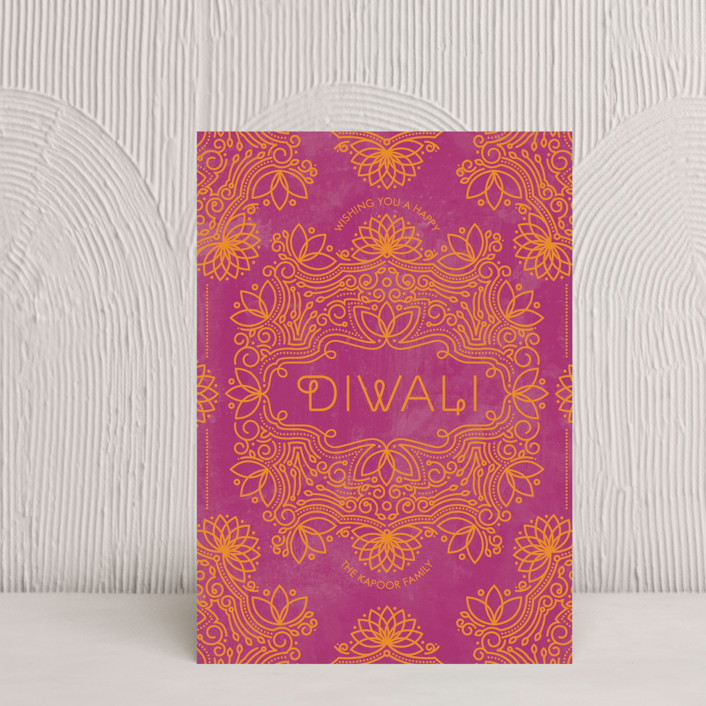 """Festive Lotus"" - Diwali Postcards in Marigold by Aspacia Kusulas."