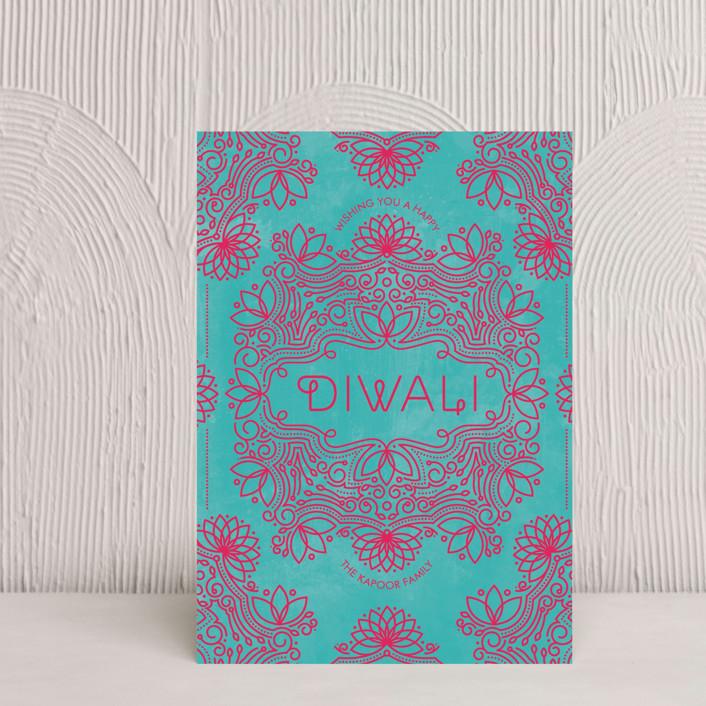 """Festive Lotus"" - Diwali Postcards in Magenta by Aspacia Kusulas."