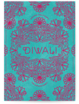This is a red diwali card by Aspacia Kusulas called Festive Lotus printing on signature in postcard.