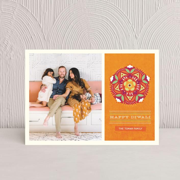 """Floral Rangoli"" - Vintage, Modern Diwali Postcards in Pumpkin by Kristen Smith."