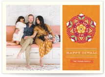 This is a orange diwali card by Kristen Smith called Floral Rangoli printing on signature in postcard.