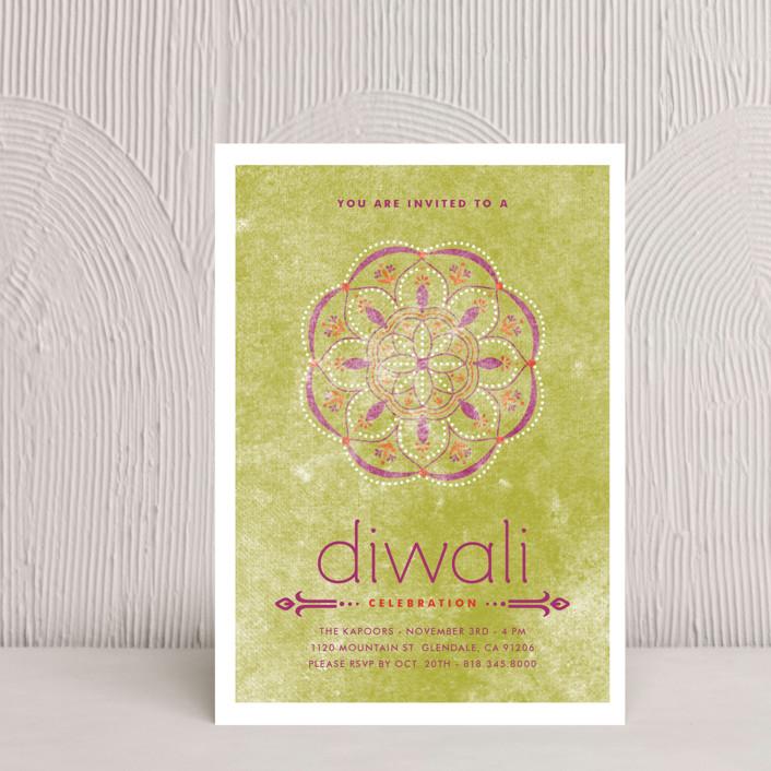 """Celebratory Ringol"" - Diwali Postcards in Peridot by Aspacia Kusulas."