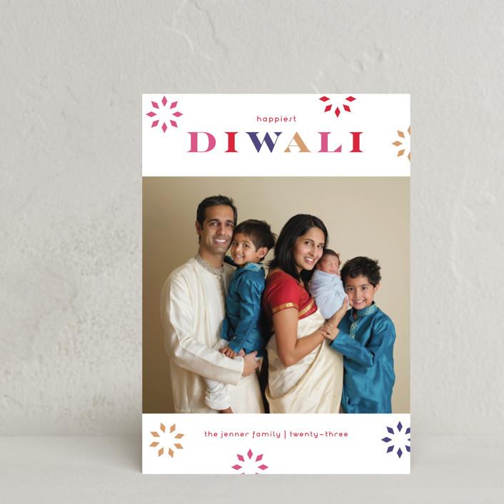 """Bright Bursts"" - Diwali Postcards in Plum by lena barakat."