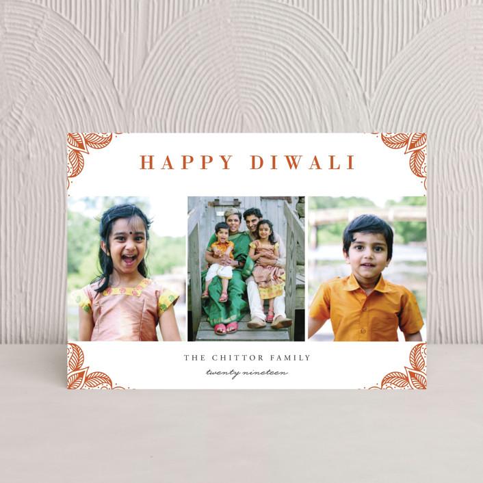 """Rangoli Corners"" - Diwali Postcards in Rust by Oma N. Ramkhelawan."