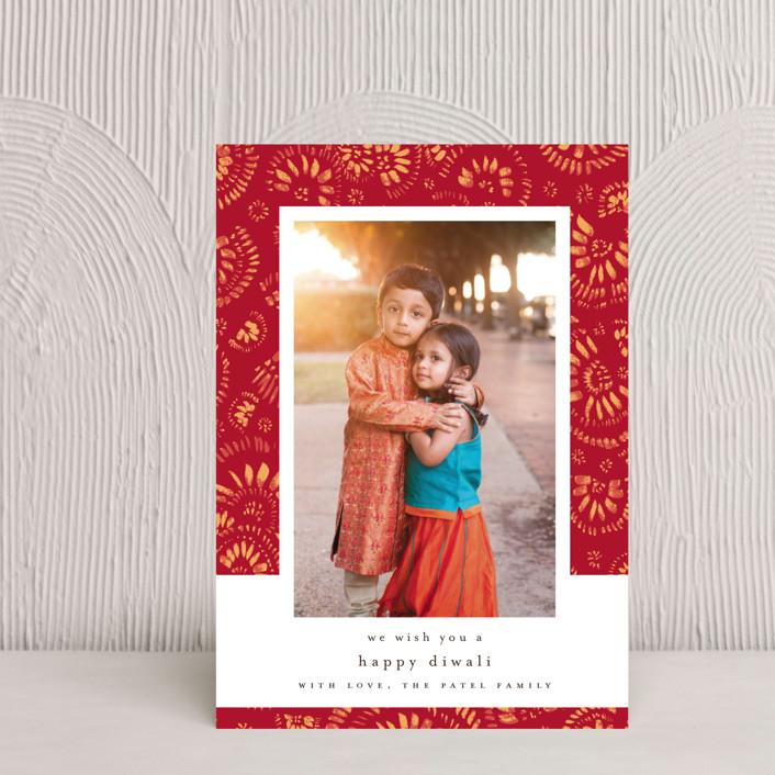 """spreading love"" - Diwali Postcards in Crimson by Susanne Kasielke."